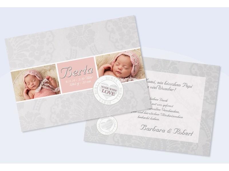 Danksagungskarte geburt baby a6 made with love vintage look - Vintage geburtskarten ...
