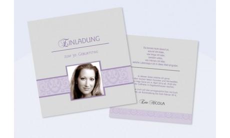 """Einladungskarte 30. Geburtstag, zweiseitig, """"Nicola"""" grau flieder"""