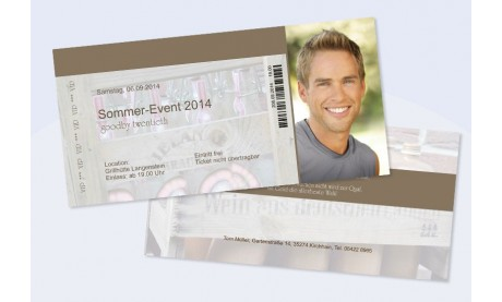 """Karte Geburtstag Einladungskarte DIN Lang """"Eintrittskarte zum Sommerevent"""""""