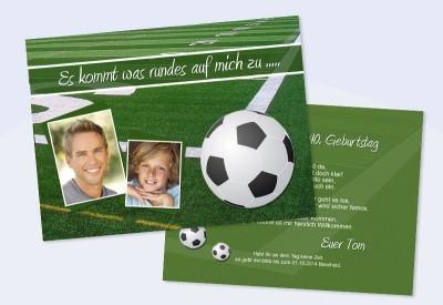 Einladungskarte Einladung Zum Runden Geburtstag Flachkarte Fussball