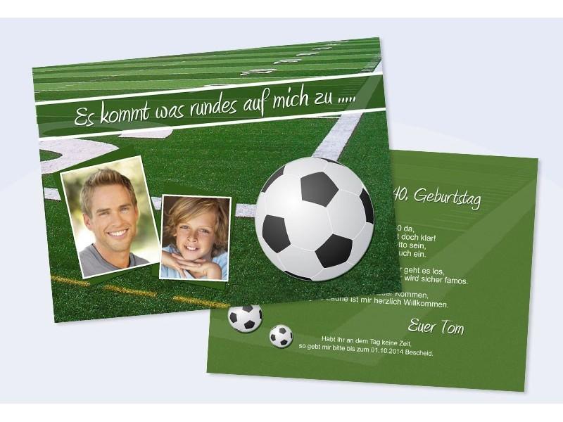 """einladungskarte, einladung zum runden geburtstag, flachkarte """"fußball"""", Einladungsentwurf"""