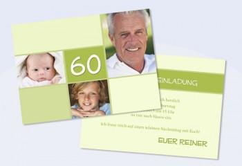 """Einladungskarte runder Geburtstag, Flachkarte, """"Reiner"""""""