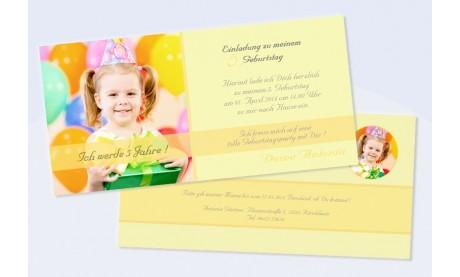 """Karte Kinder-Geburtstag Einladungskarte DIN Lang """"Partytime"""""""