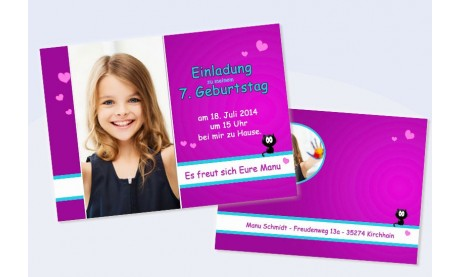 "Einladungskarte Kindergeburtstag, Flachkarte A6 ""strahlender Engel"" in pink"