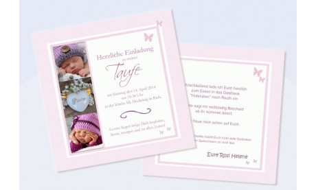 """Einladung Taufe """"Rosi"""", Taufeinladung, rosa"""