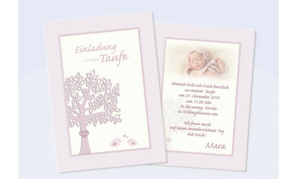 """Einladungskarte zur Taufe, Flachkarte, """"Pastell"""""""