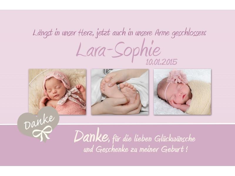 Danksagung Geburt, Geburtskarte, 10x15 cm, lila