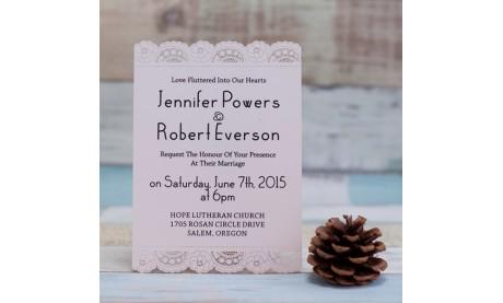 Flachkarte Hochzeit mit eleganter Spitzenborte