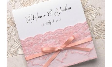 Hochzeitseinladung Vintage rosa Spitze diy