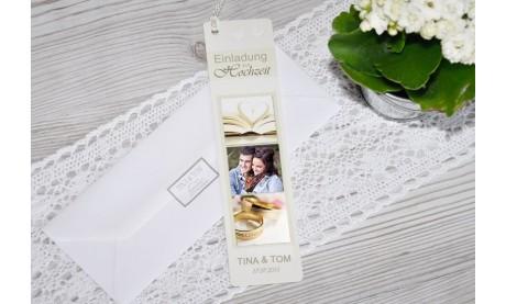 Lesezeichen Einladungskarte Hochzeit, 5x20 cm, creme