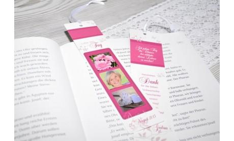 Lesezeichen, Platzkarte, Danksagung Geburtstag, 5x20 cm, rot
