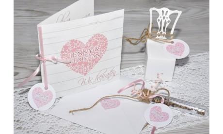 """Einladungskarte Hochzeit """"Herz"""", Klappkarte Quadrat, Dielenoptik"""