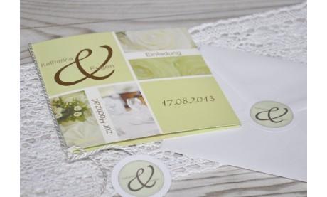 """Einladungskarte Hochzeit """"Elegance"""", Klappkarte Quadrat, grün"""