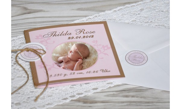 "Geburtskarte ""Luis"" Klappkarte Quadrat, braun hellblau ( rosa"