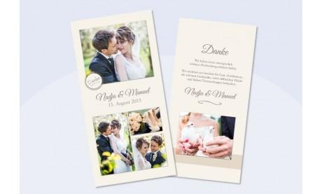 Danksagungskarte Hochzeit Collage, creme