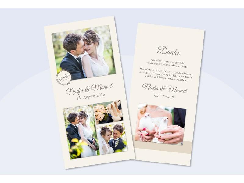 Danksagungskarte Hochzeit, Collage, Creme