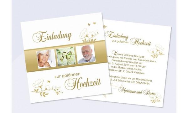 Einladungskarte Goldhochzeit