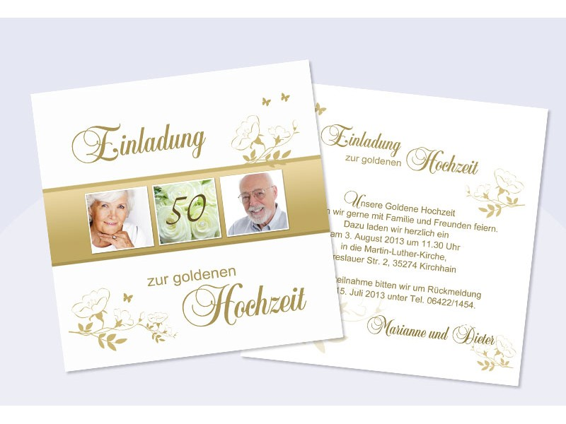 exceptional einladungskarten goldhochzeit #1: SagesmitHerz.de