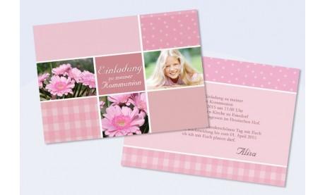 """Einladungskarte Konfirmation Kommunion Flachkarte A6 """"Mädchentraum"""""""