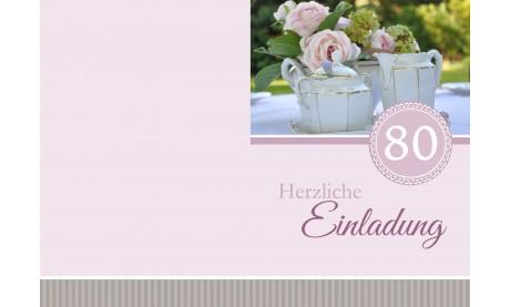 """Einladung zum 80. Geburtstag """"Kaffee"""" rosé"""