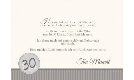 """Einladung zum 30. Geburtstag """"Vintage"""" modern, taupe"""