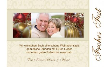 Fotokarte Weihnachten, Weihnachtskarte 10x15 cm, creme