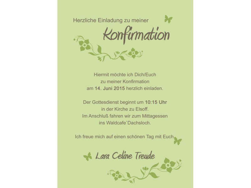 einladungskarten konfirmation text – thegirlsroom.co, Einladung