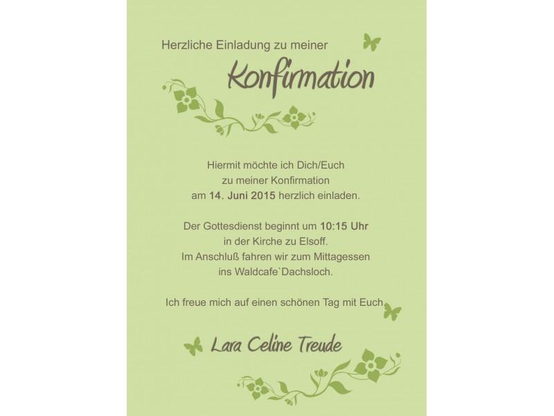 Einladung Konfirmation grün