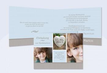 """Einladungskarte Kommunion """"Pünktchen"""" braun hellblau"""