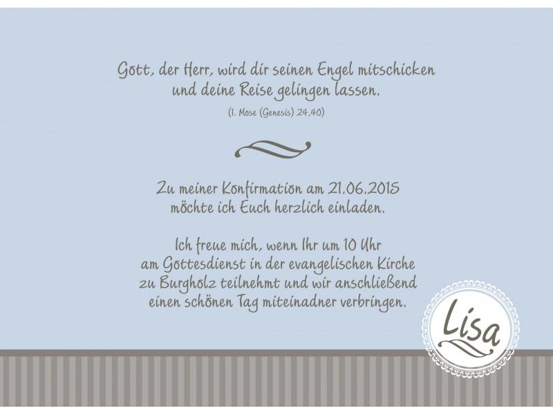 Einladung Zur Konfirmation Din A6 Braun Hellblau