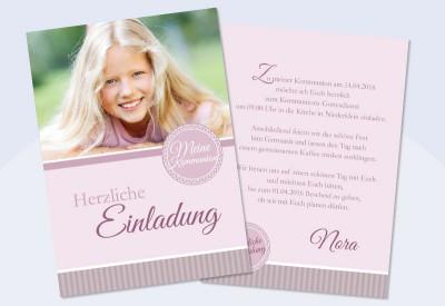 Einladung Kommunion Foto, Rosa, Einladungsentwurf