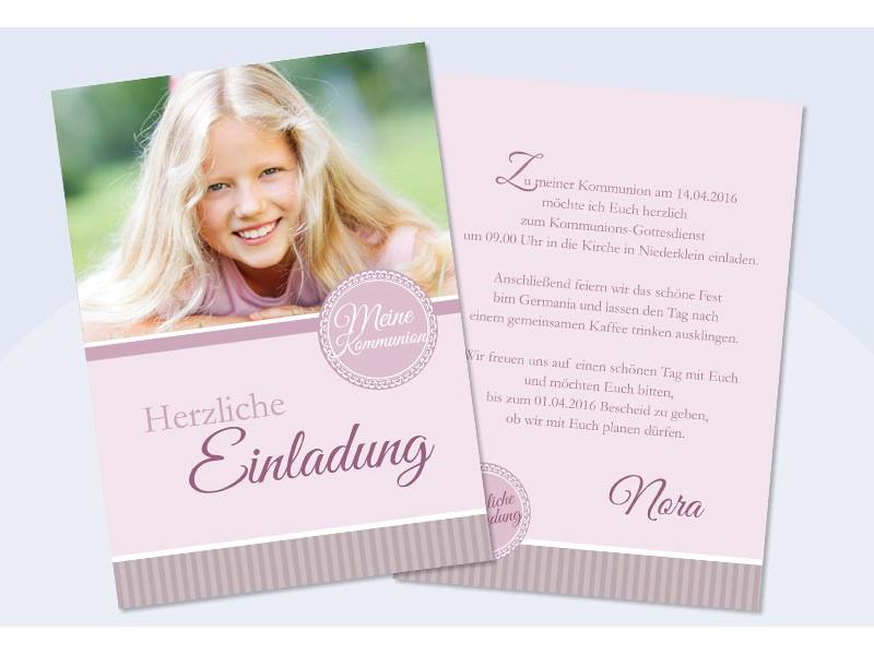 Einladung Kommunion Foto Rosa