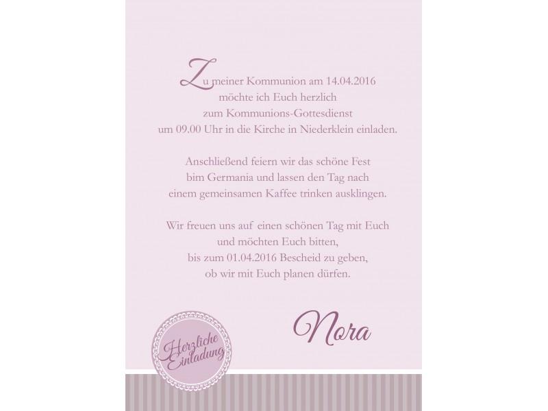 einladung kommunion foto, rosa, Einladung
