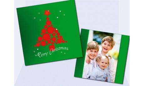 Flachkarte Weihnachten, Weihnachtskarte 2-seitig, 12,5x12,5 cm, grün