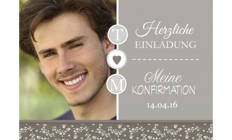 """Einladungskarte Konfirmation """"Vintage"""", taupe"""