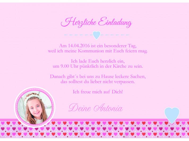 """Einladung Kommunion mit Foto """"Mädchentraum"""", pink rosa"""