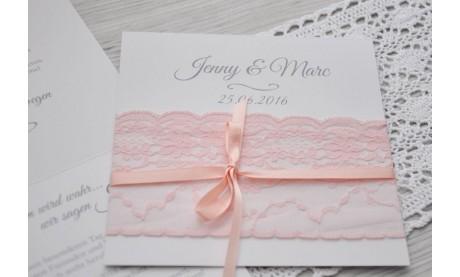 """Einladung Hochzeit """"Strumpfband"""" rosa"""