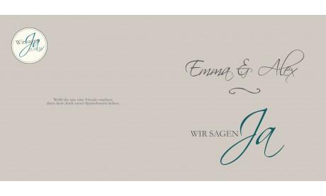"""Einladungskarte Hochzeit """"für immer"""", Klappkarte Quadrat, braun"""