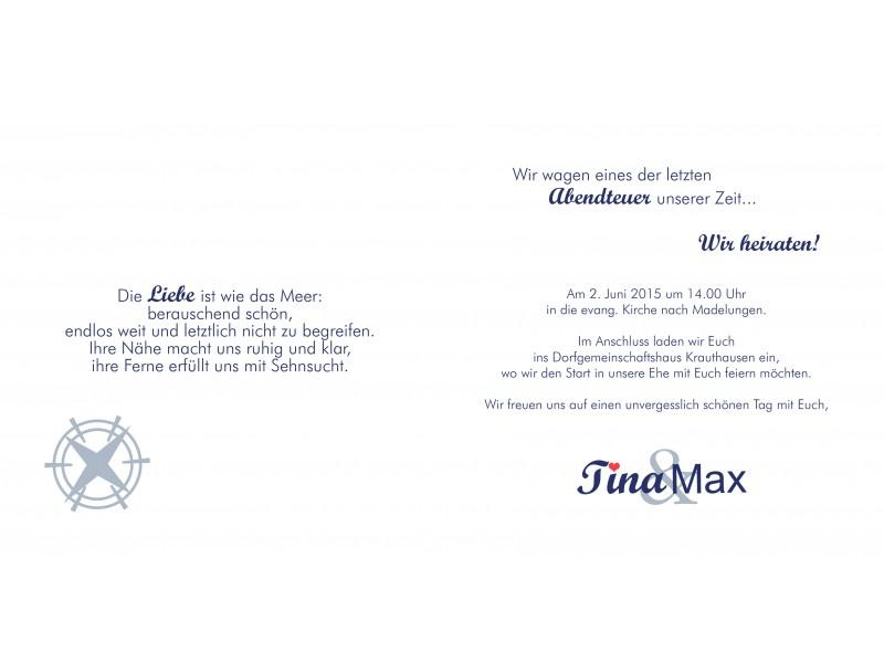 """einladung hochzeit """"maritim"""", Einladung"""