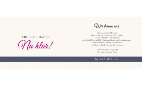 """Einladungskarte Hochzeit, Klappkarte A6, """"moderne Unabhängigkeit"""