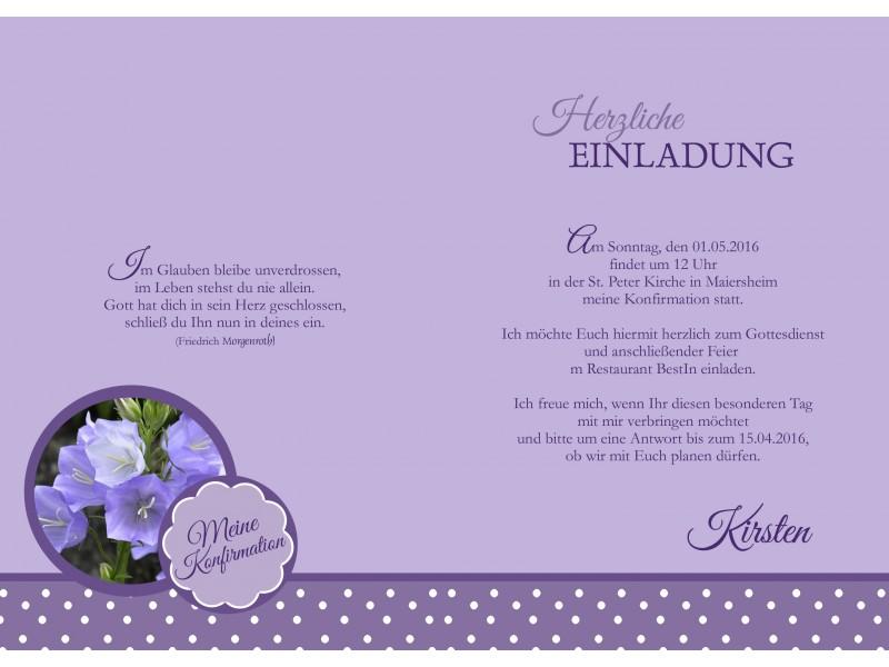 Einladungskarte Kommunion / Konfirmation, lila flieder