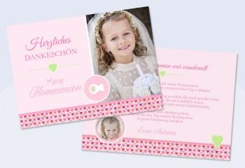 """Dankeskarte Konfirmation Kommunion, """"Mädchentraum"""", rosa pink"""