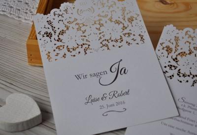 Einladungskarte Zur Hochzeit Mit Lasercut Spitze Vintage