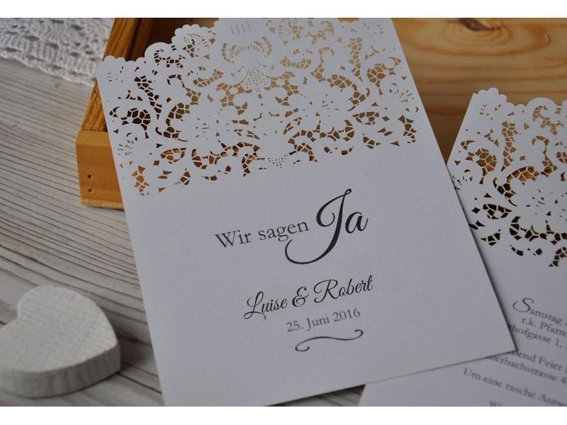 Einladungskarte zur Hochzeit mit Lasercut Spitze, Vintage