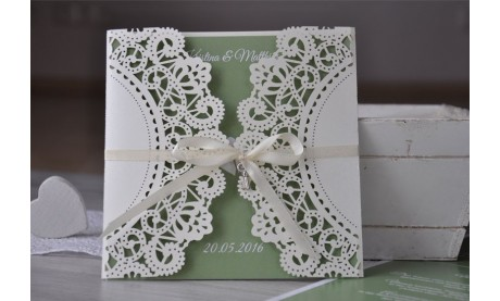 "Einladungskarte Hochzeit ""Lasercut trifft Elegance"""