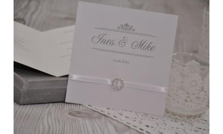 """Einladungskarte Hochzeit """"Nur Du"""" mit edler Strass Schnalle"""