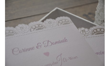 Flachkarte Hochzeit Vintage mit eleganter Spitze