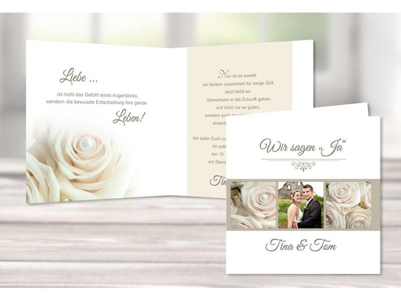 Einladungskarte Hochzeit Moderner Vintage Stil Rosen