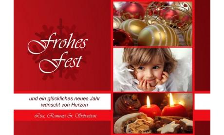 Fotokarte Weihnachten, Weihnachtskarte 10x15 cm, rot