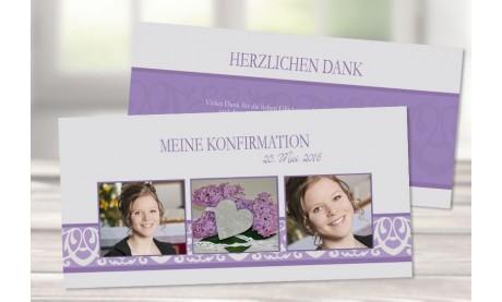 Dankeskarte Konfirmation Kommunion lila flieder